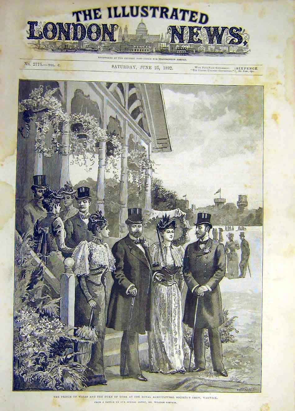 Print 1892 Warwick Agricultural Show Prince Princess Wales 867941 Old Original