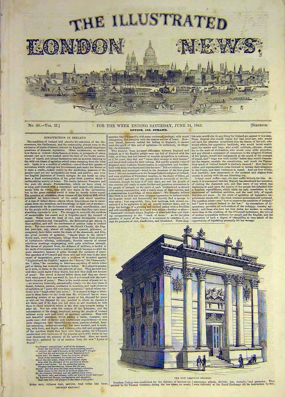 Print 1843 Building Gresham College 997941 Old Original