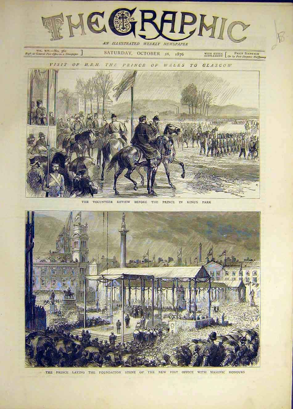 Print 1876 Glasgow Prince Wales Volunteer Review Post Office 047941 Old Original