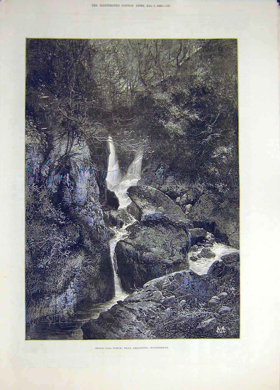 Print 1880 Stock-Gill Force Ambleside Windermere 107941 Old Original