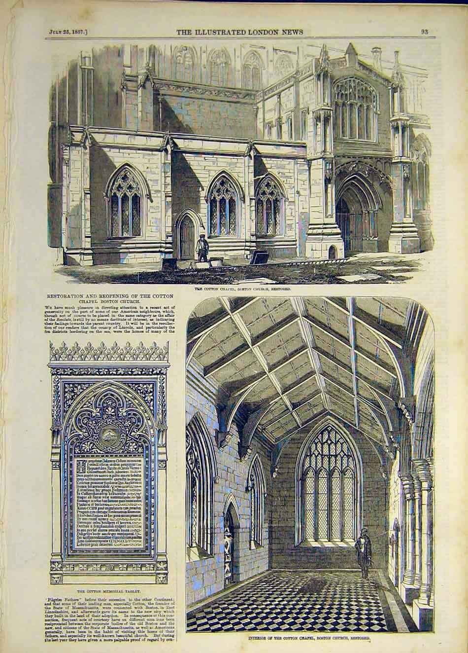 Print 1857 Cotton Chapel Boston Church Restored Building 117941 Old Original