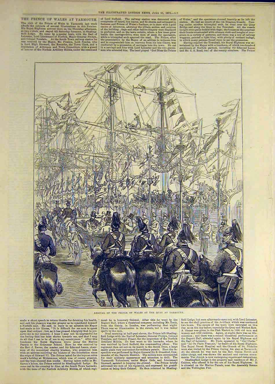 Print 1872 Prince Wales Quay Yarmouth Procession 127941 Old Original