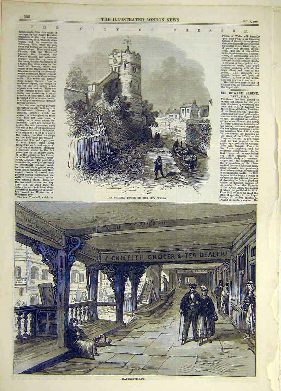 Print 1869 City Chester Phoenix Tower Watergate-Row 277941 Old Original
