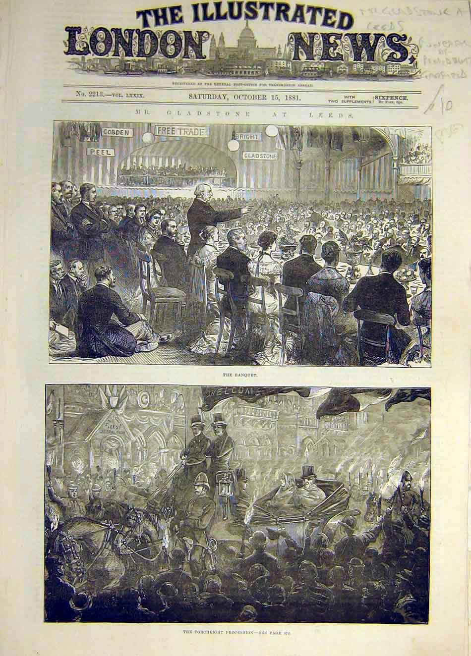 Print 1881 Banquet Gladstone Leeds Torchlight Procession 297941 Old Original