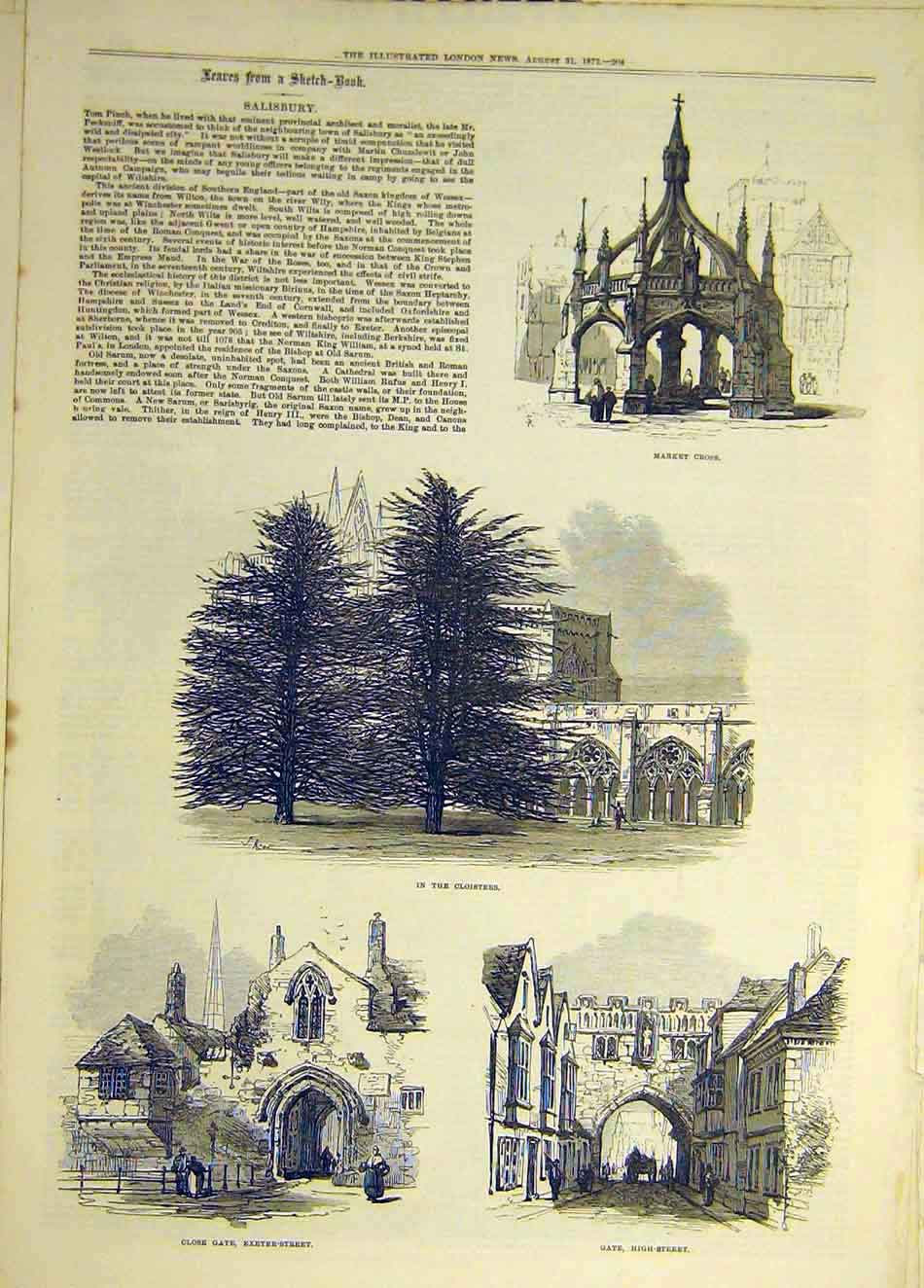 Print 1872 Sketches Salisbury Market-Cross Cloisters Gate 317941 Old Original
