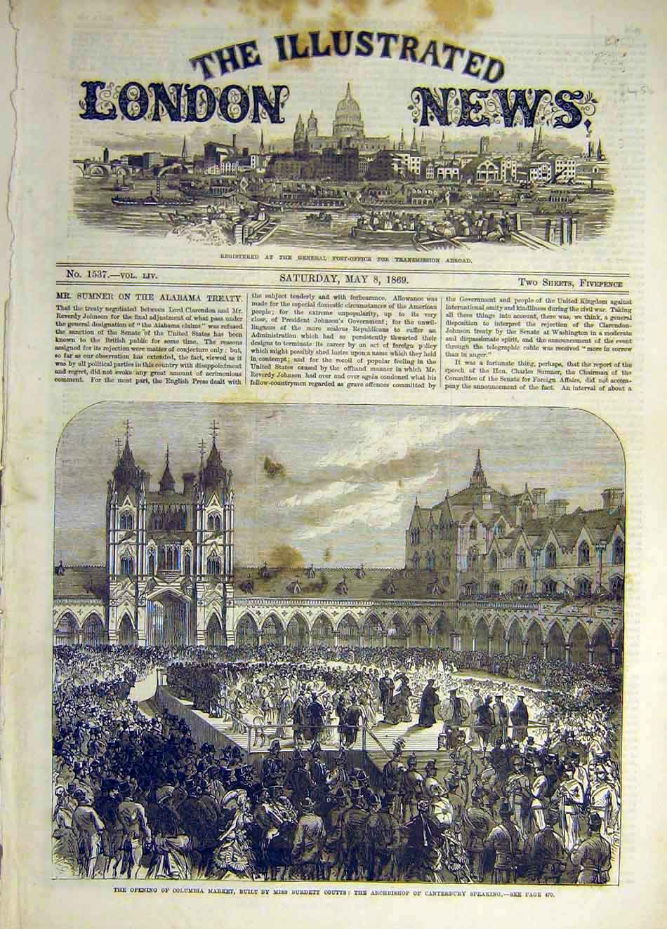 Print 1869 Columbia Market Coutts Archbishop Canterbury 347941 Old Original