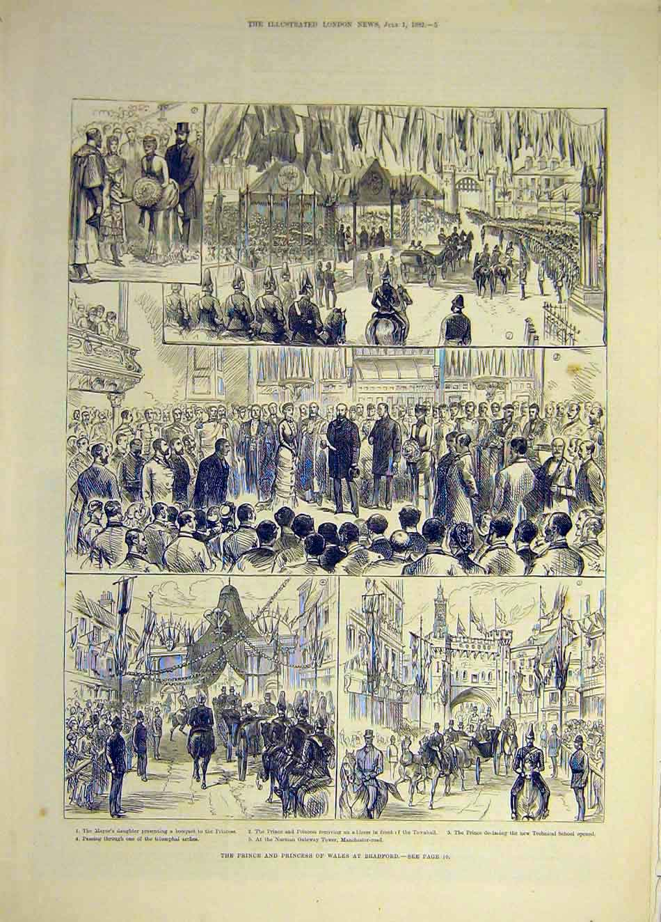 Print 1882 Prince Princess Wales Bradford Sketches School 397941 Old Original
