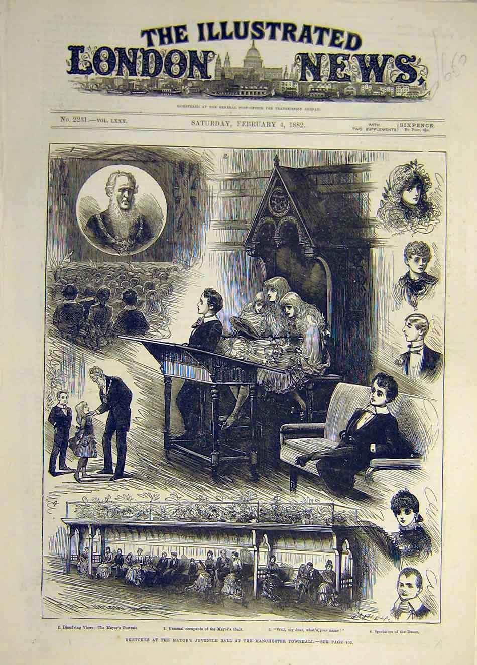 Print 1882 Sketches Mayor Juvenile Ball Manchester Townhall 437941 Old Original