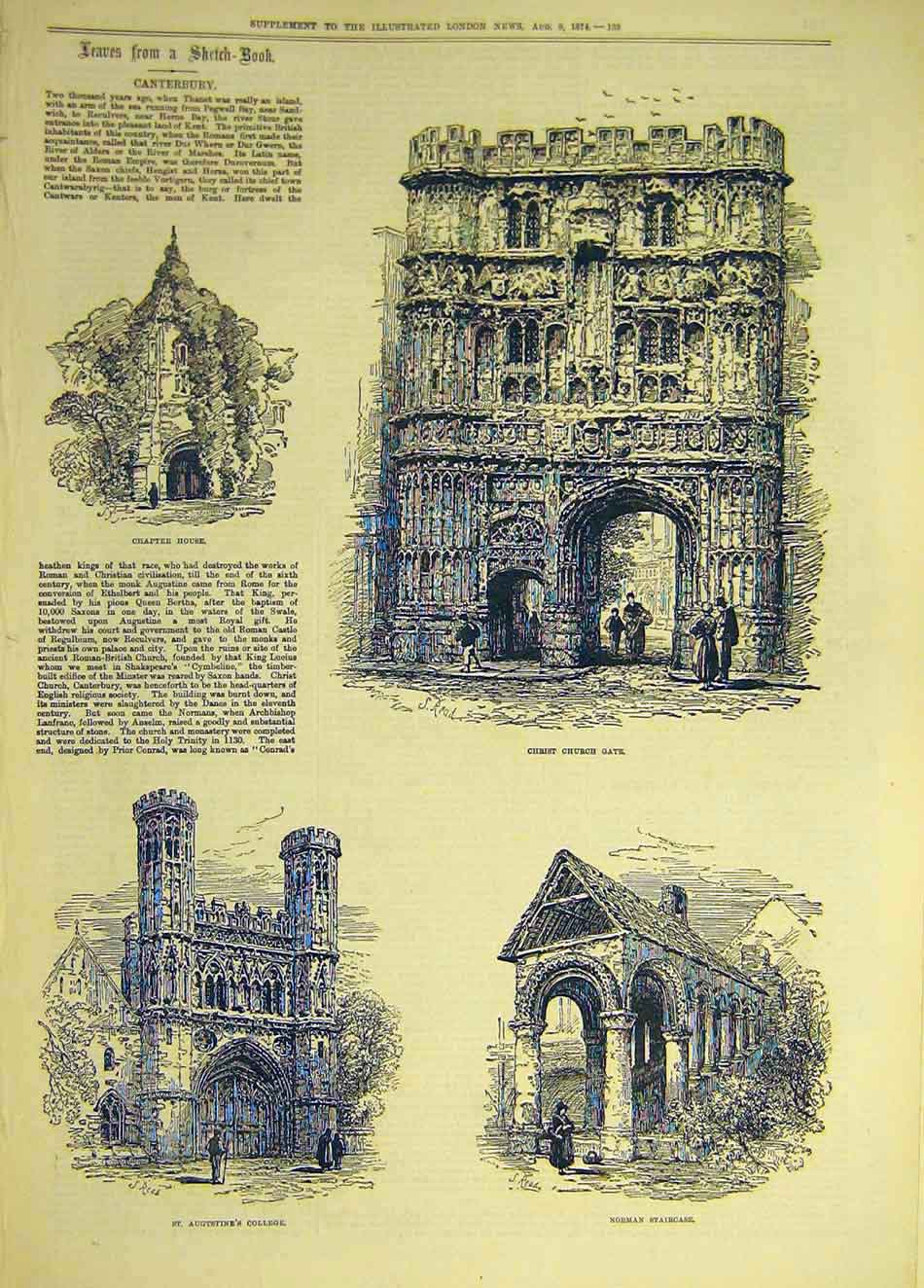 Print 1874 Sketches Canterbury Christ-Church Gate Norman 477941 Old Original