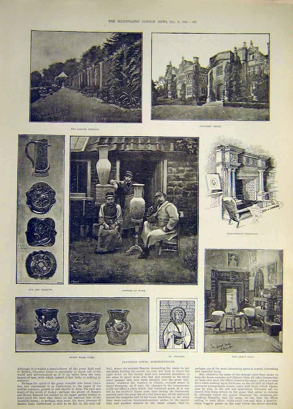 Print 1888 Somerset Clevedon Court Potters Elston Vase Jug 547941 Old Original