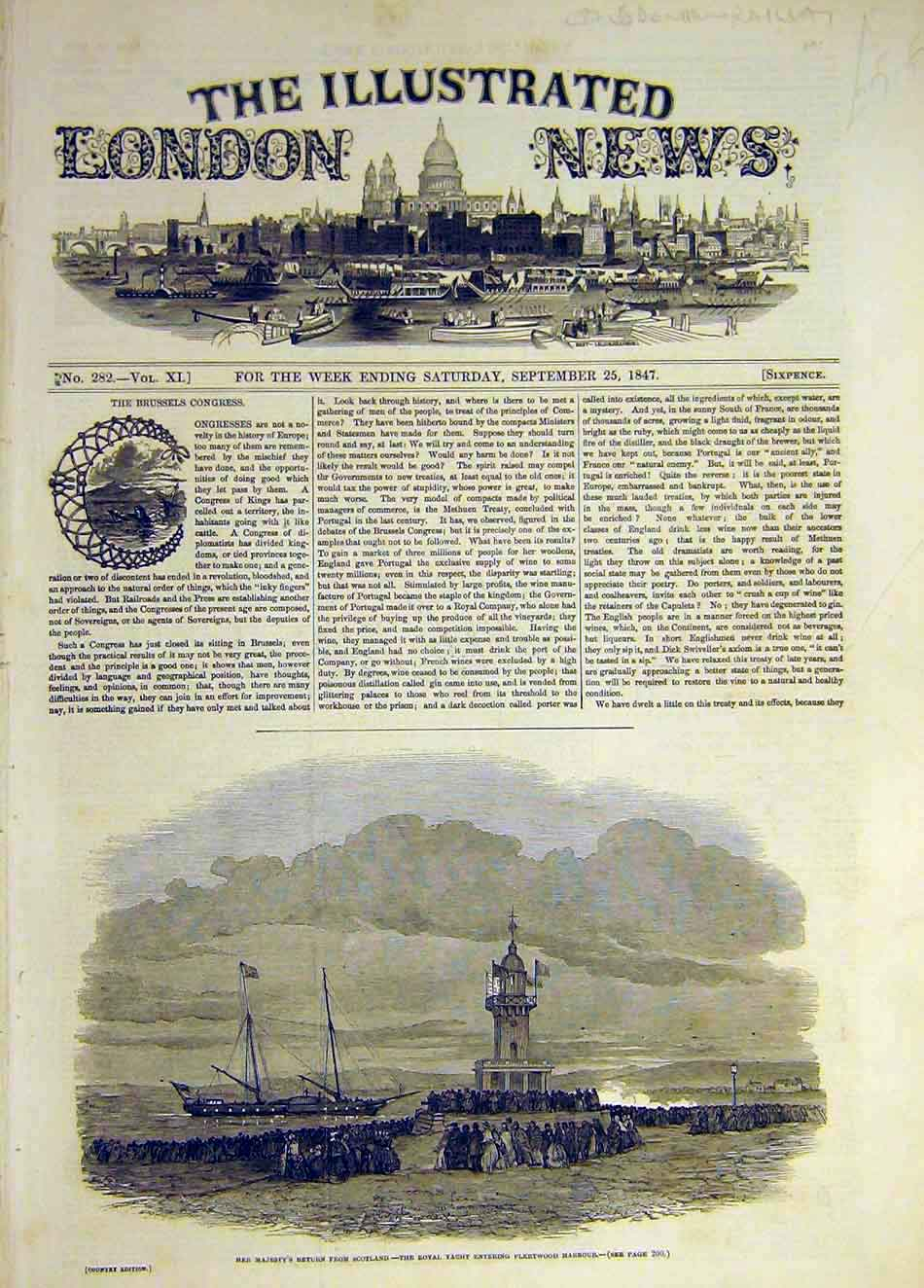 Print 1847 Fleetwood Harbour Queen Royal Yacht Return 597941 Old Original