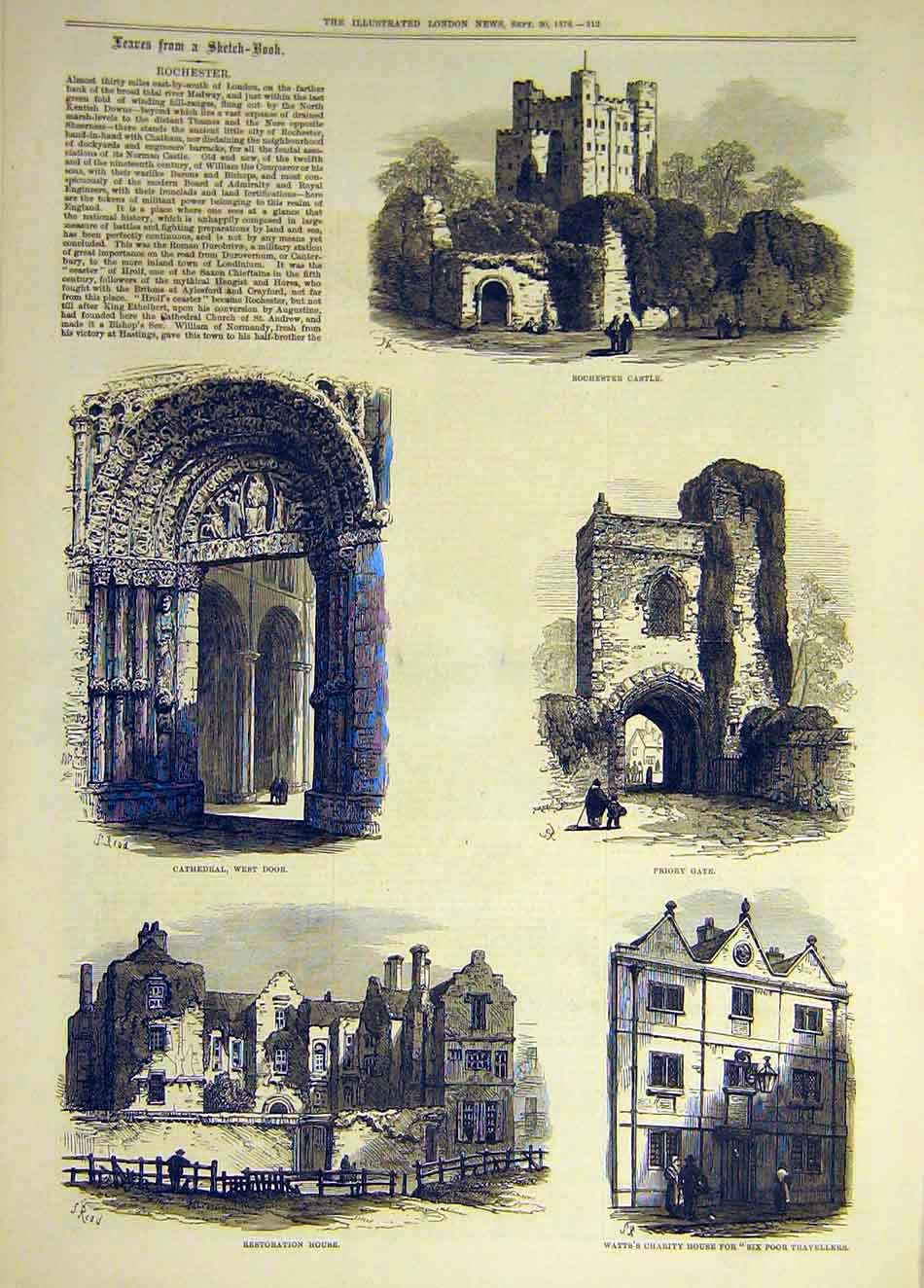 Print 1876 Sketches Rochester Castle Cathedral Priory Watts 627941 Old Original
