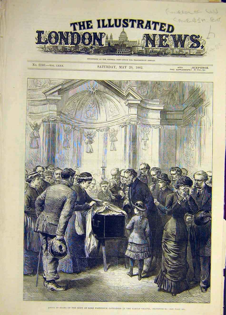 Print 1882 Cavendish Funeral In-State Chatsworth Chapel 767941 Old Original