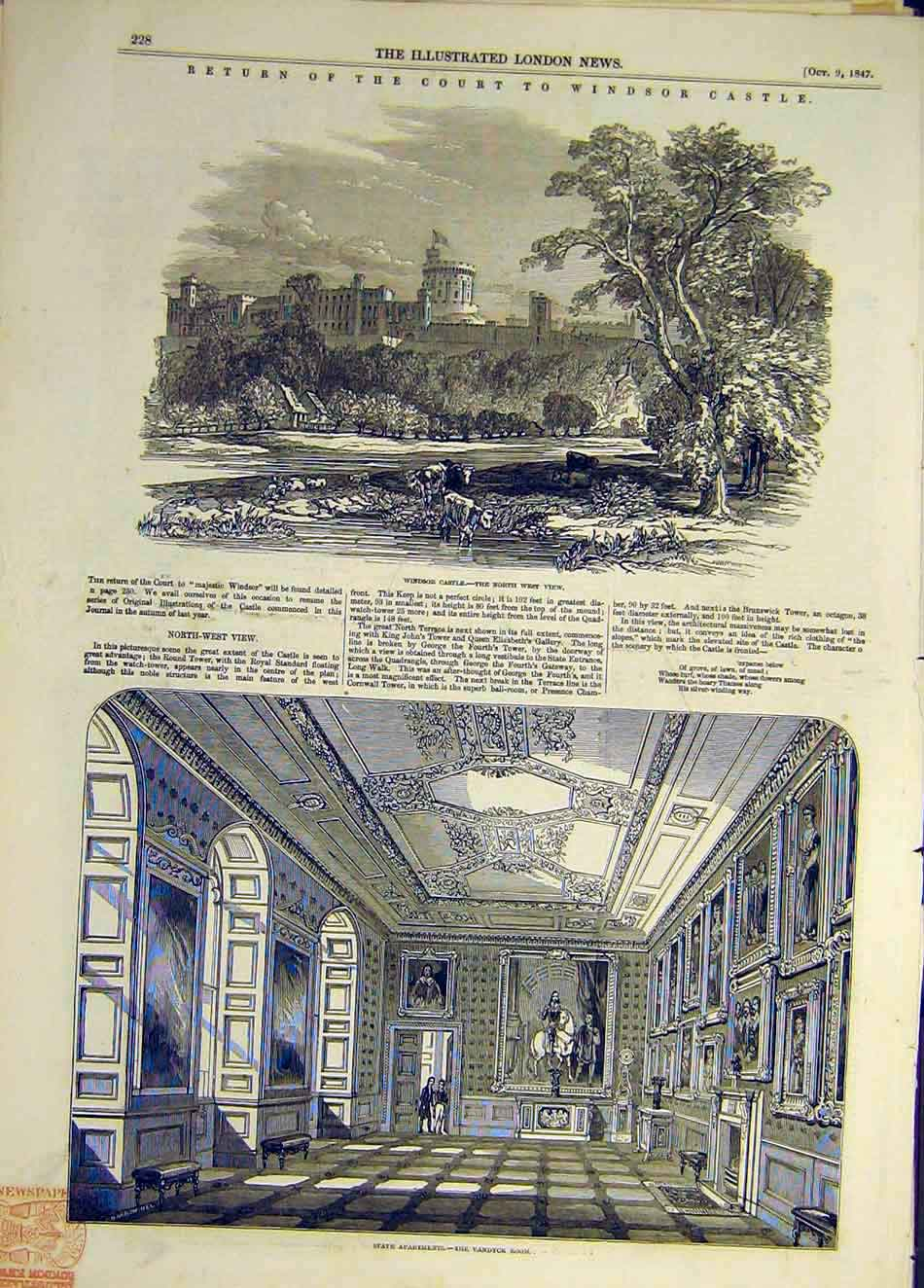 Print 1847 Windsor Castle Vandyck Room Building Court Return 777941 Old Original