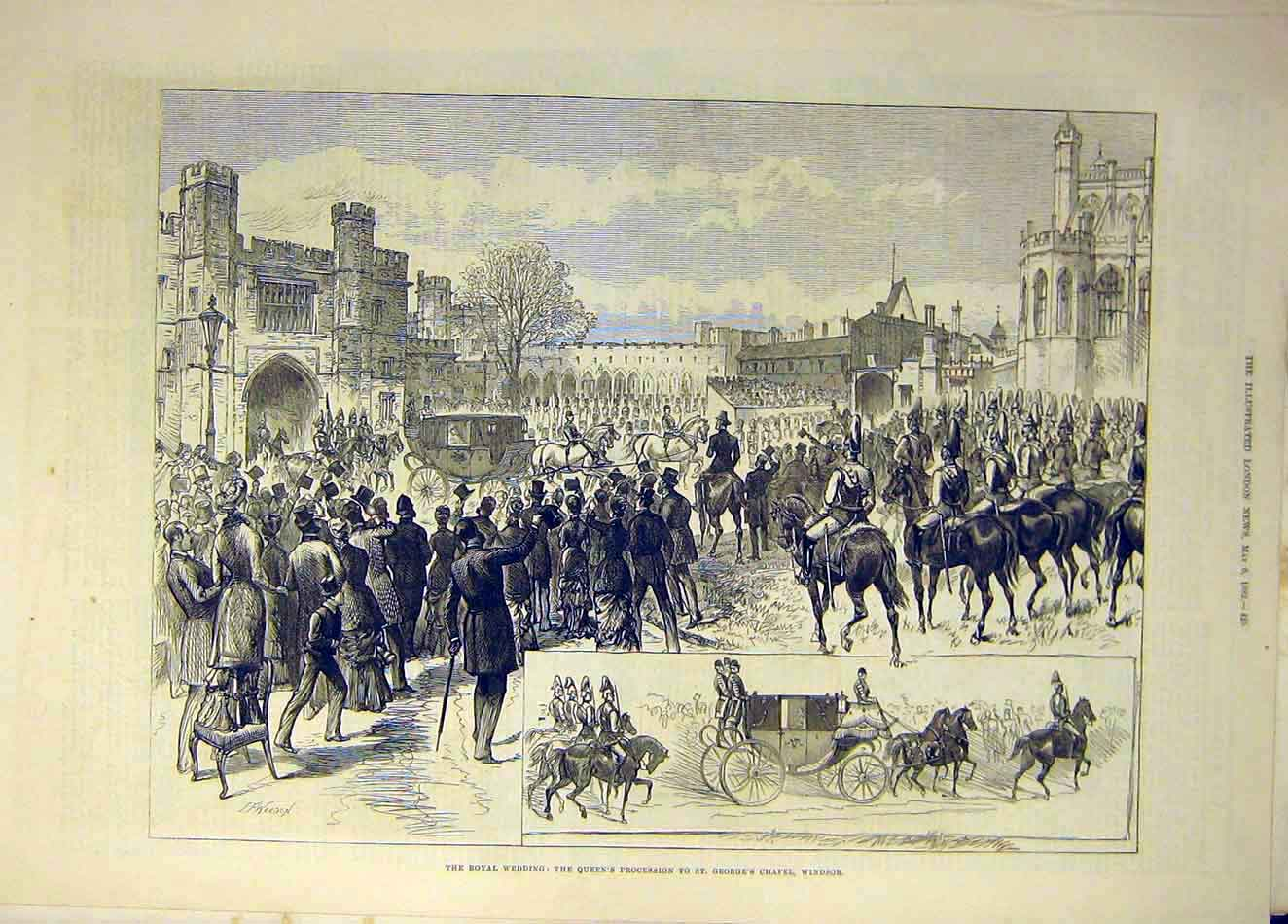 Print 1882 Royal Wedding Queen Processionwindsor Chapel 847941 Old Original