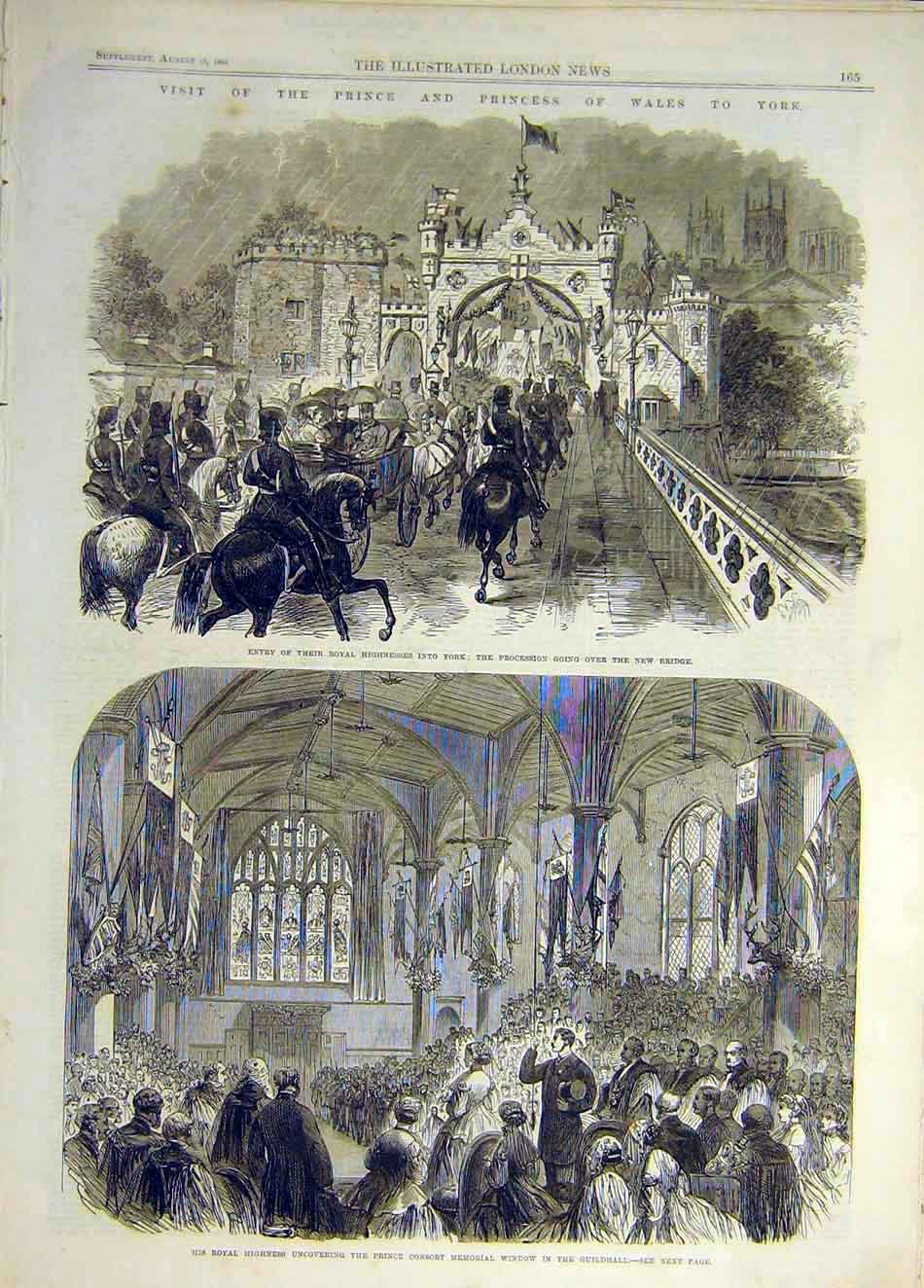 Print 1866 York Prince Princess Wales Bridge Window Guildhall 917941 Old Original