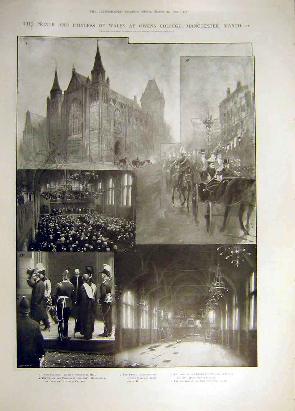 Print 1902 Prince Princess Wales Owen'S College Manchester 927941 Old Original