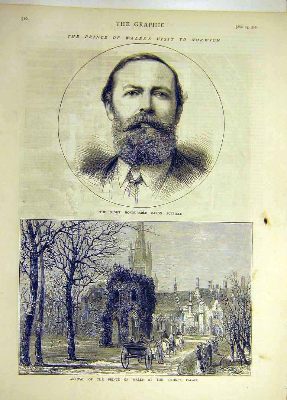Print 1876 Baron Suffield Portrait Bishop'S Palace Prince 937941 Old Original