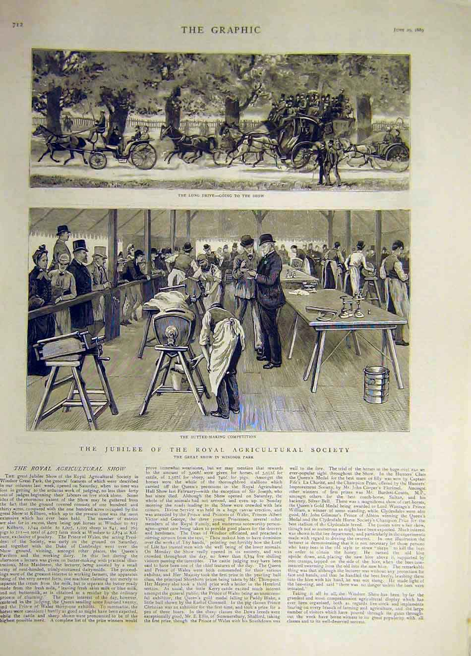 Print 1889 Royal Gricultural Show Society Carriage Butter 107941 Old Original