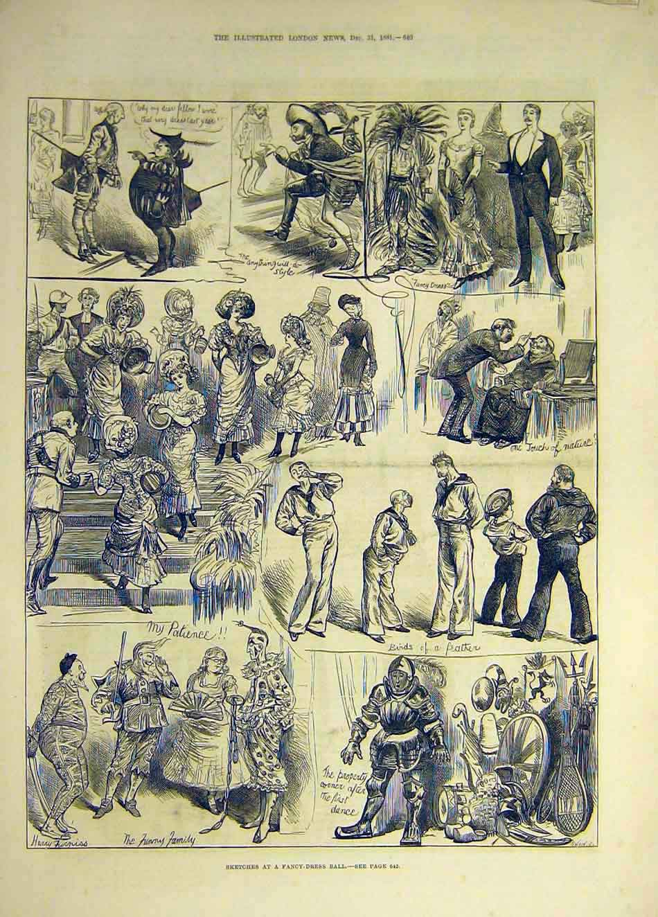 Print 1881 Sketches Fancy-Dress Ball Sailors Funny Family 167941 Old Original