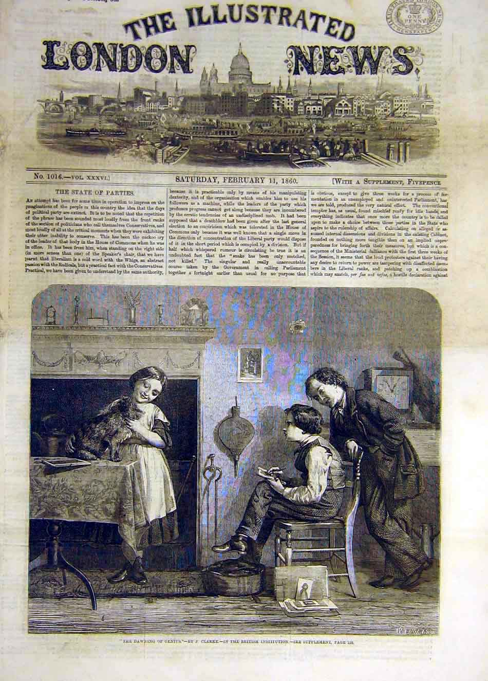 Print 1860 Dawning Genius Clarke Artist Boy Dog Girl 267941 Old Original