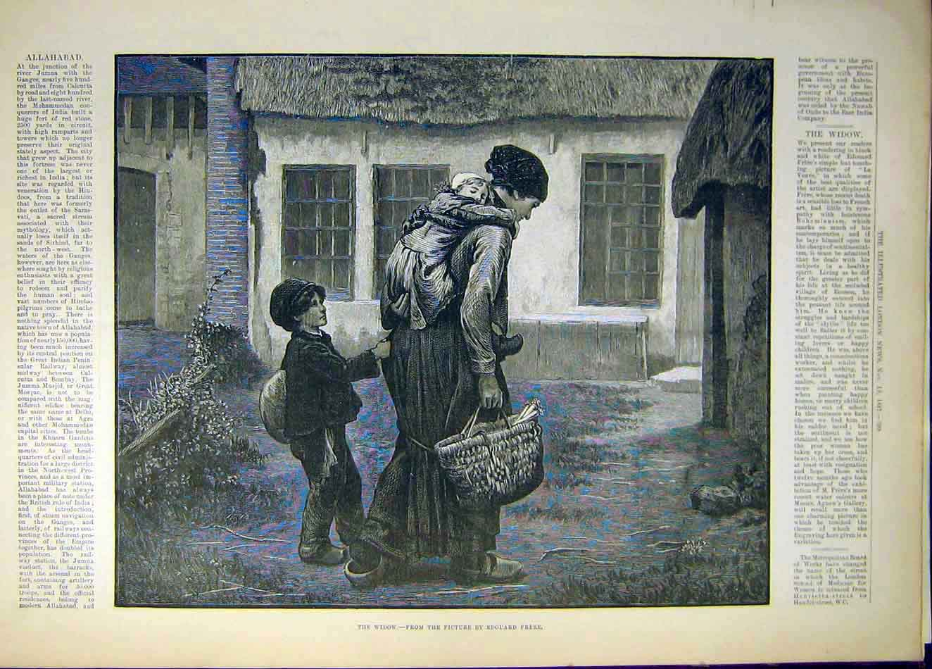 Print 1887 Widow Frere Child Baby Cottage 307941 Old Original