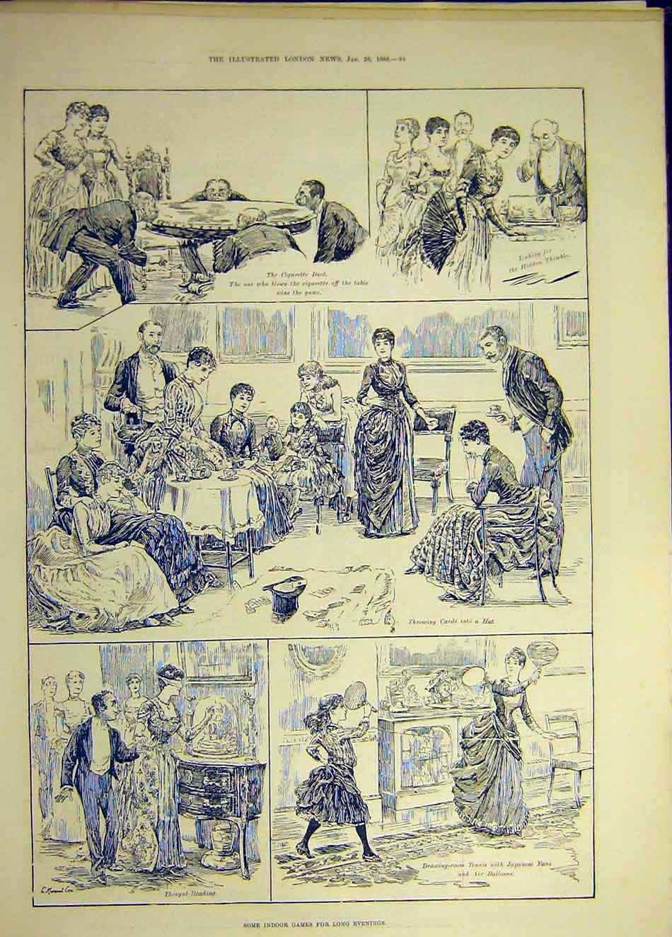 Print 1888 Indoor Games Sport Evenings Cards Cigarette Duel 317941 Old Original