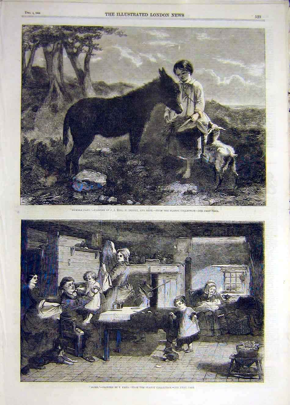 Print 1858 Humble Fare Donkey Child Goat Home Faed 367941 Old Original