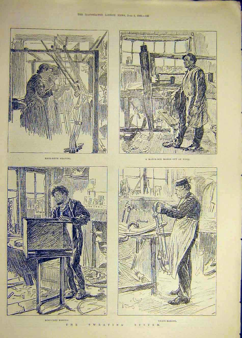 Print 1888 Sweating System Bird-Cage Chair Making Weaving 437941 Old Original