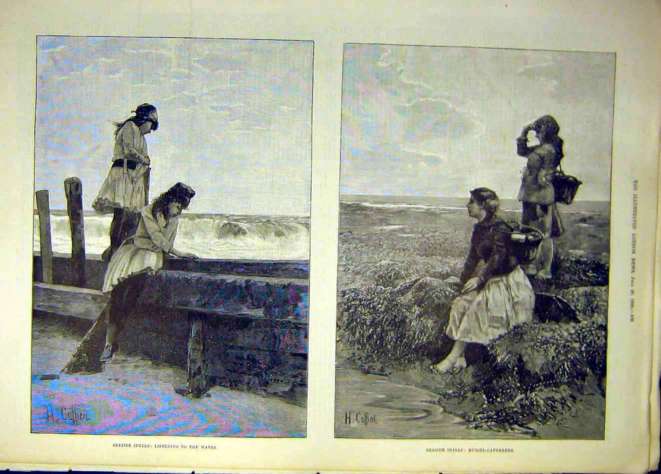 Print 1888 Seaside Idylls Waves Mussel Gatherers Sketches 447941 Old Original