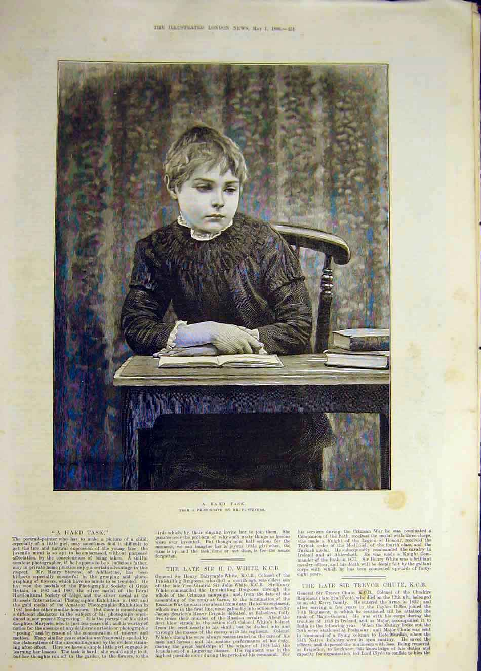 Print 1886 Hard-Task Boy Scholar School Stevens 457941 Old Original