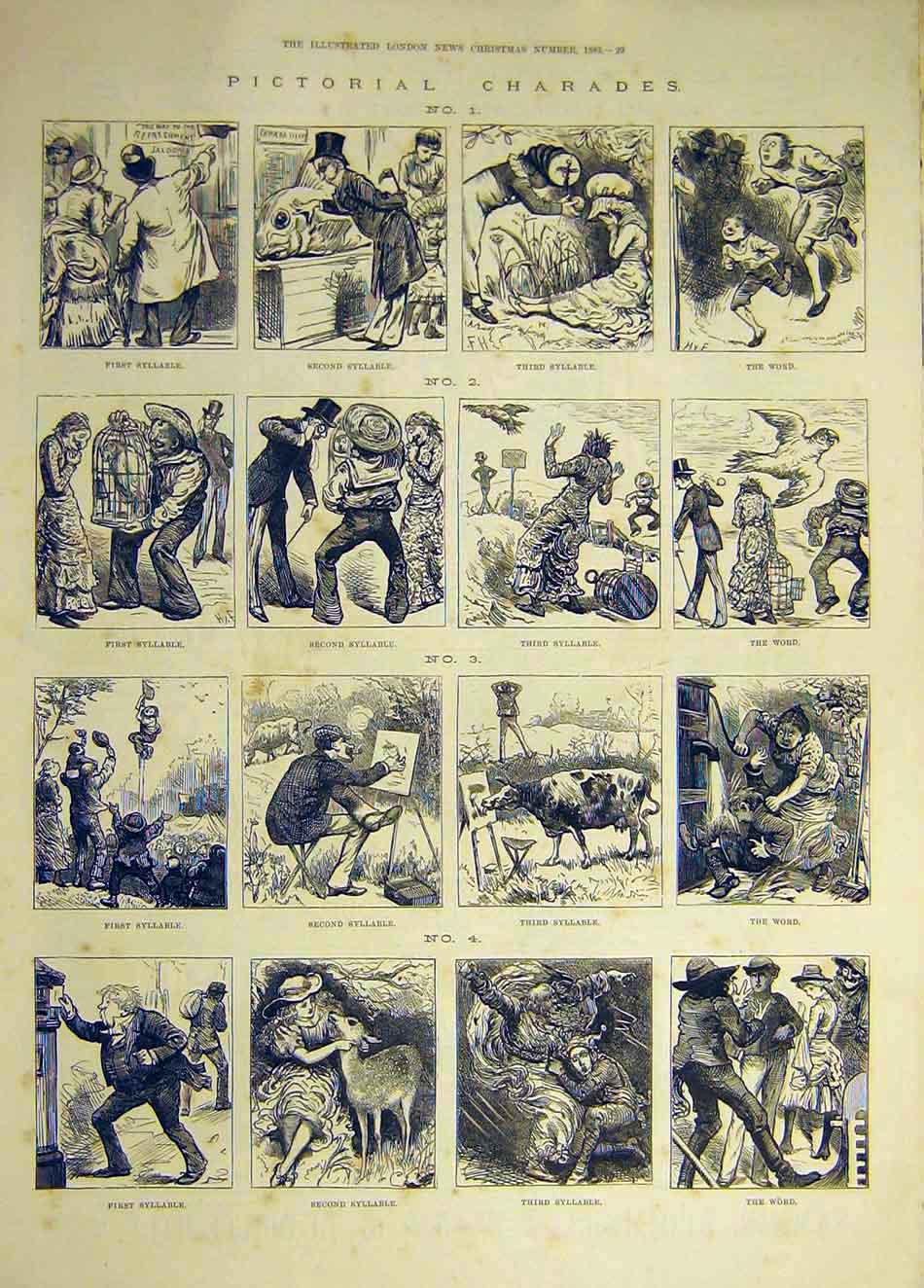 Print 1883 Pictorial Charades Syllable Sketches 517941 Old Original