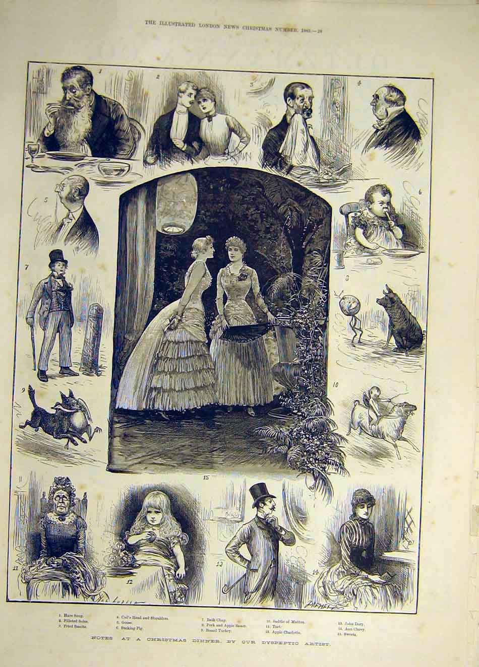 Print 1883 Christmas Dinner Dyspeptic Artist Sketches 527941 Old Original