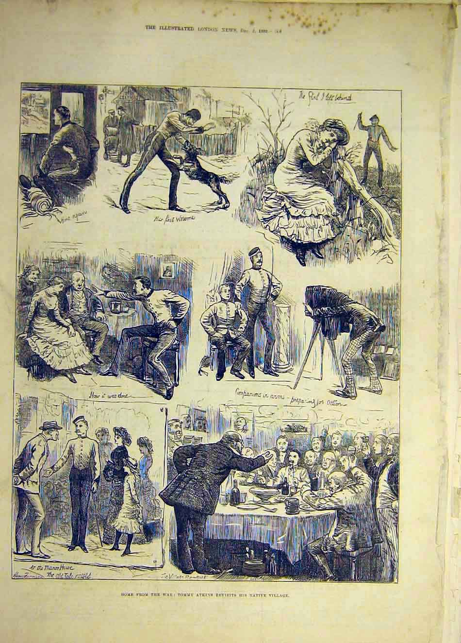[Print 1883 Matrimonial Suit Atkinson Sketches Comedy 547941 Old Original]