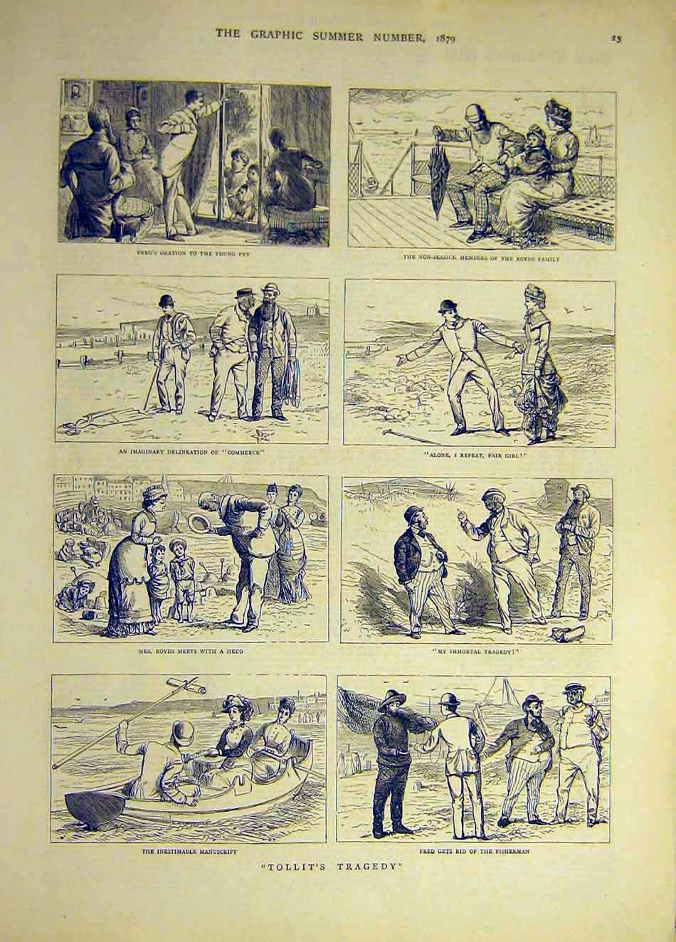 Print 1893 Comedy Accidents Sketches Romance Hunting Field 587941 Old Original