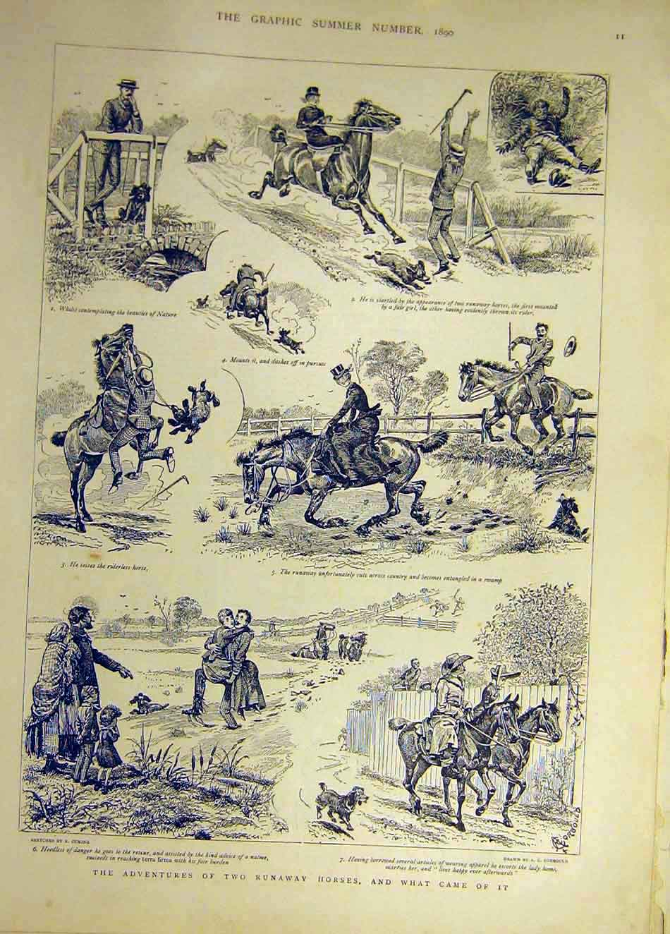 Print 1890 Two-Runaway Horses Sketches Riders Country 617941 Old Original