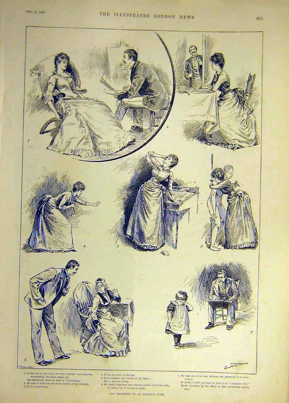 Print 1889 Troubles Artist Wife Lady Sketches 637941 Old Original