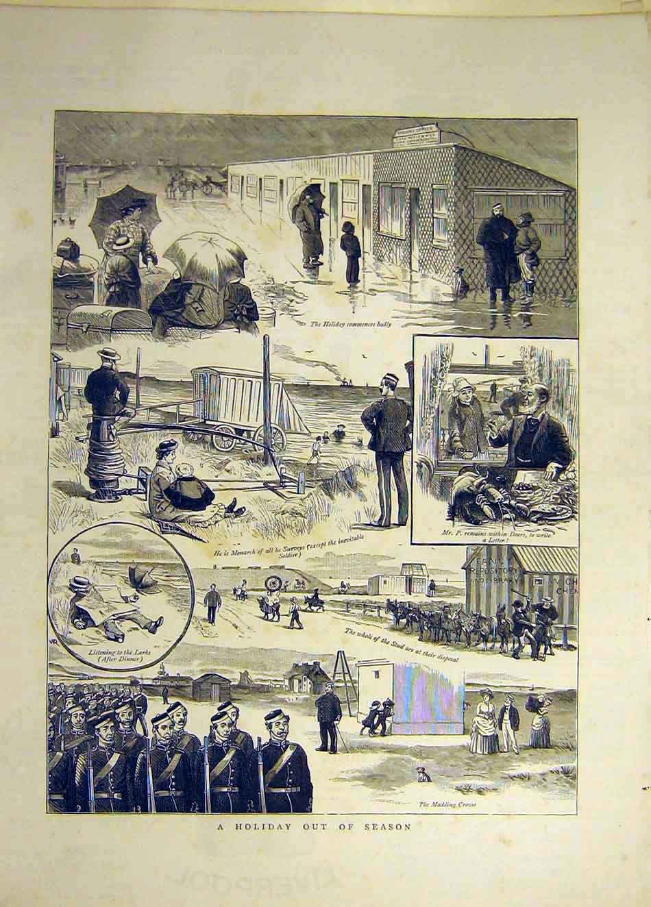 Print 1884 Holiday Out-Of-Season Donkey Beach Seaside 647941 Old Original