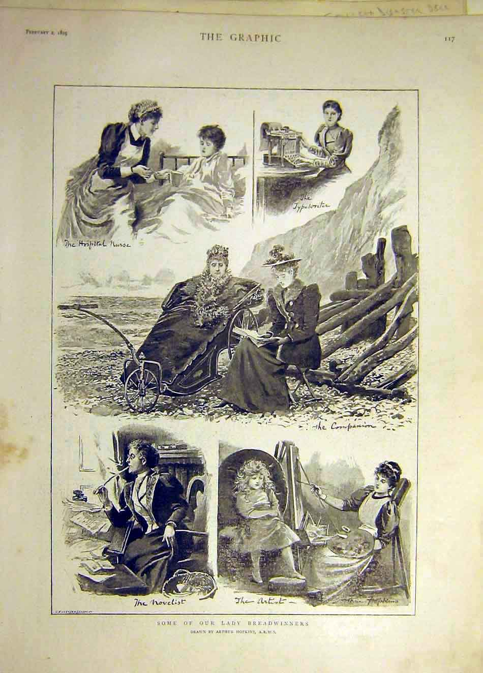 [Print 1895 Lady Breadwinners Hopkins Hospital Nurse Artist 707941 Old Original]
