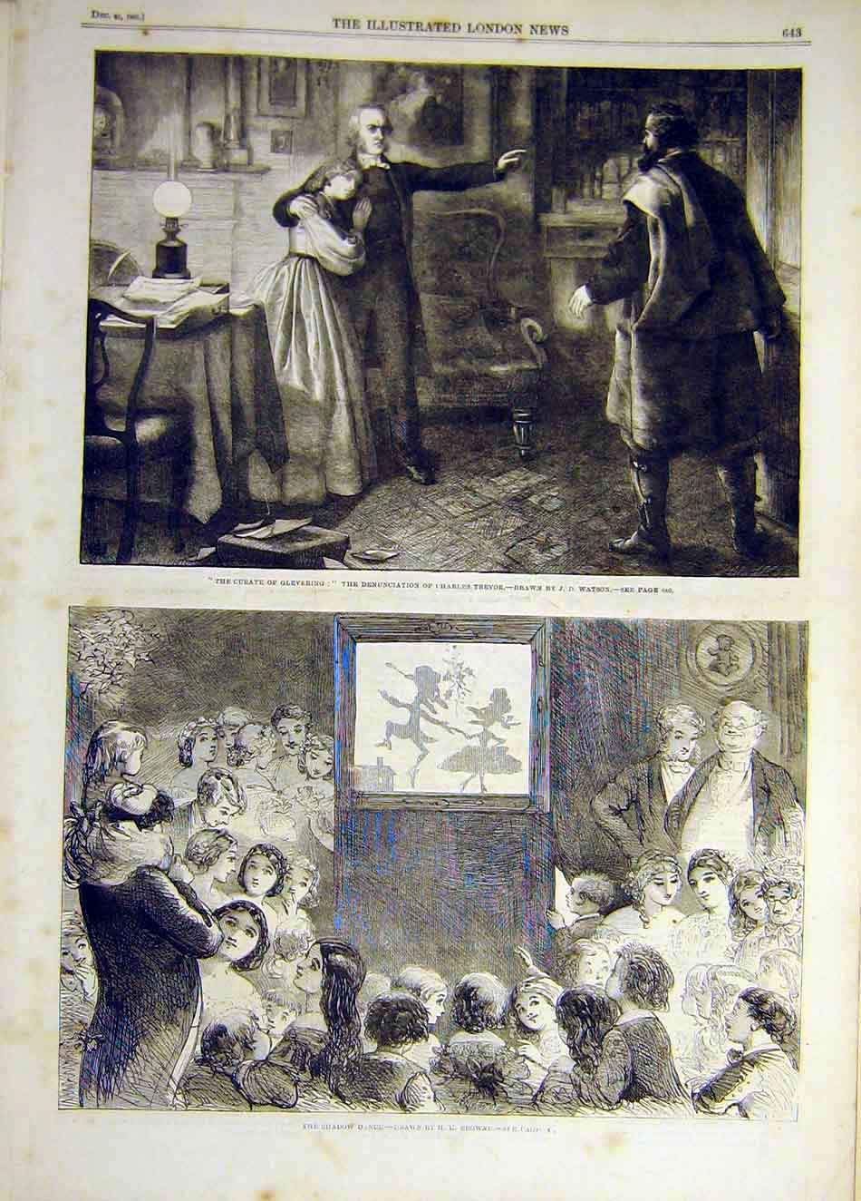 Print 1861 Glevering Curate Trevor Watson Shadow Dance 737941 Old Original
