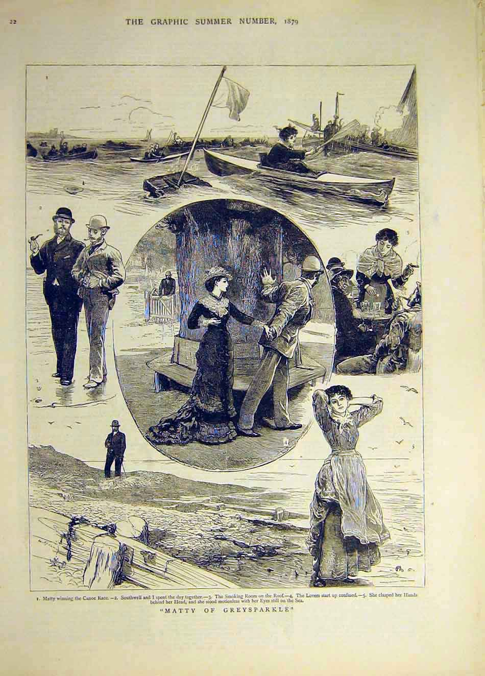 Print 1879 Matty Greysparkle Canoe Race Lovers Sketches 787941 Old Original