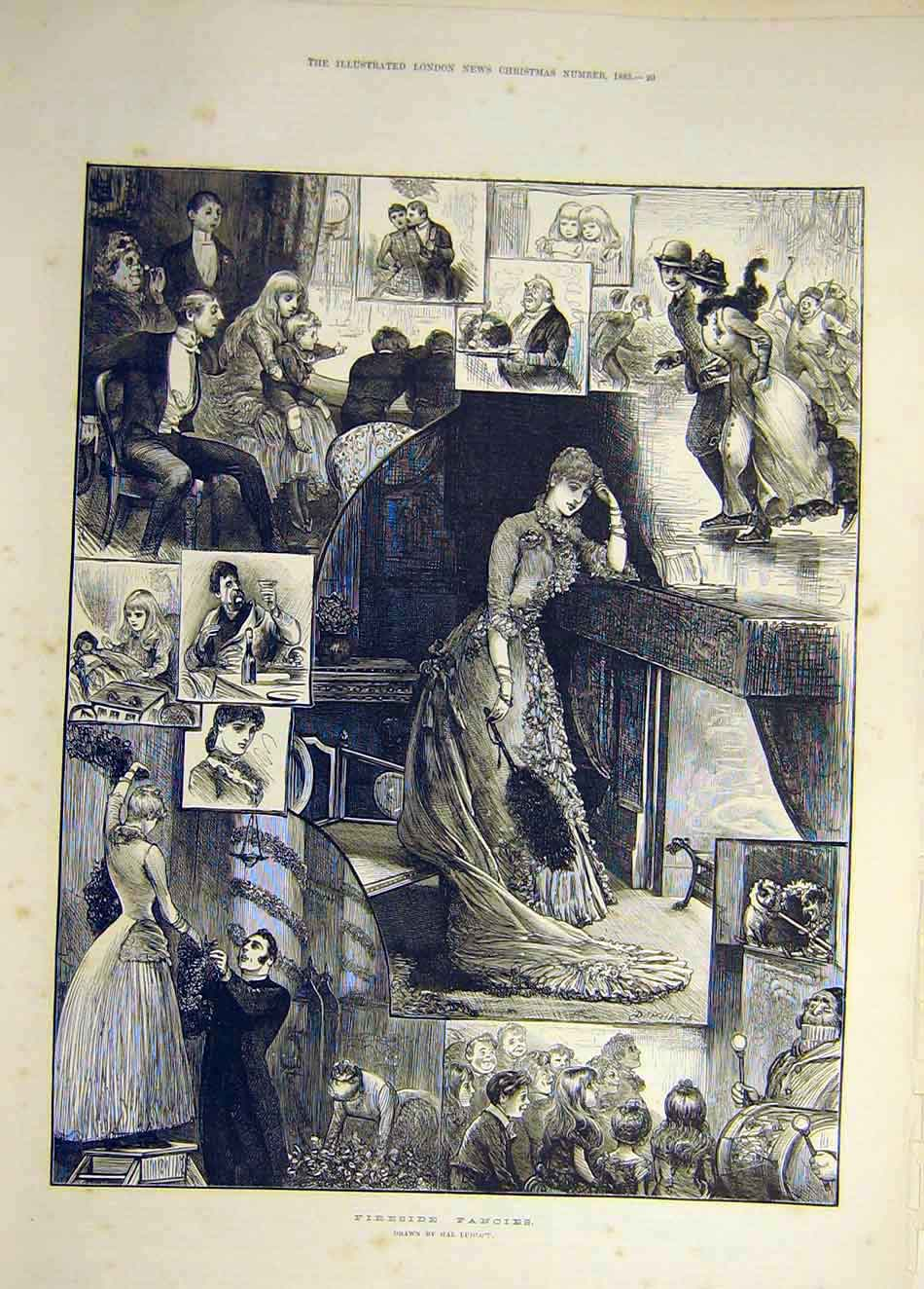 Print 1883 Fireside Fancies Sketch Ludlow Lady Piano Skating 877941 Old Original