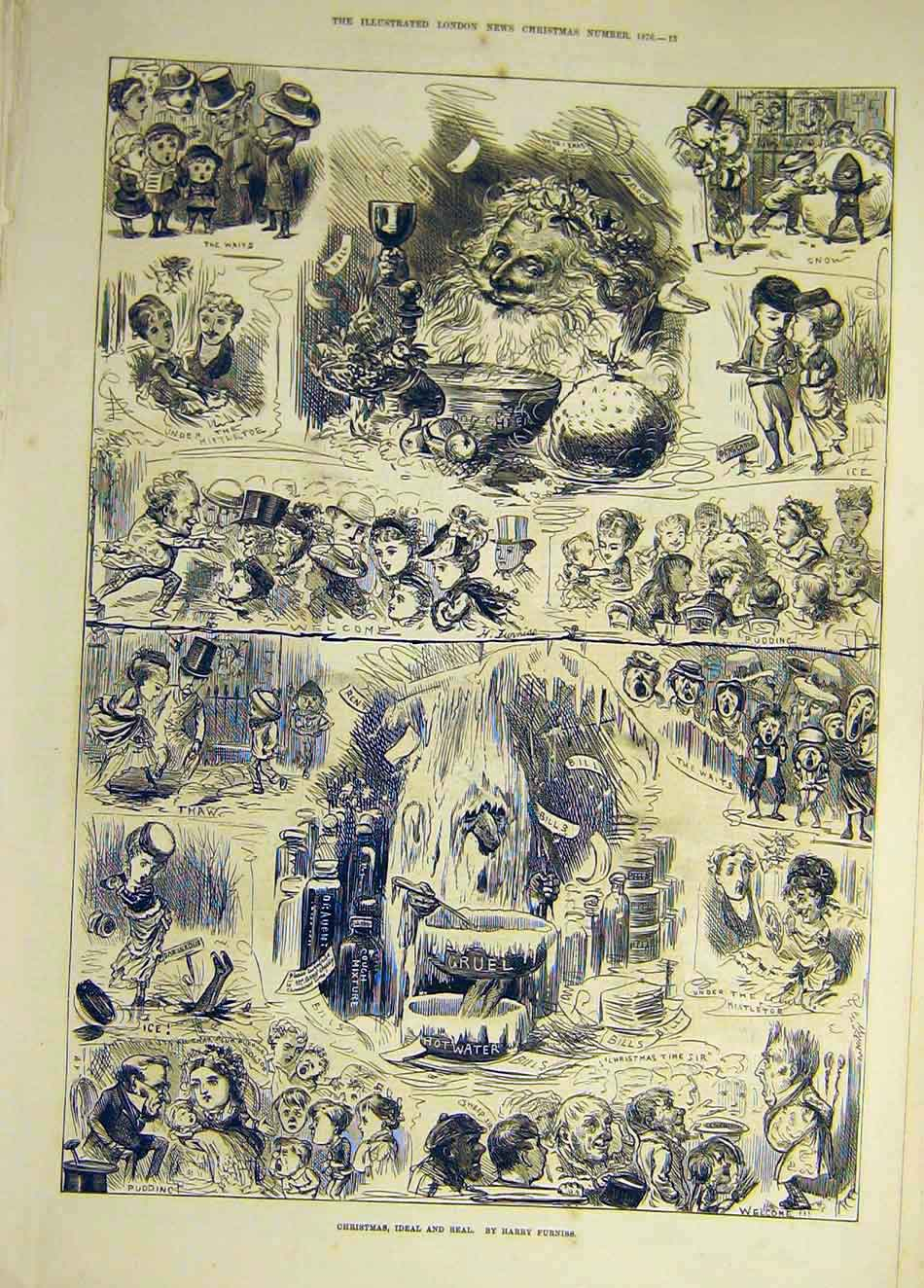 Print 1876 Christams Ideal Real Furniss Sketches Children 927941 Old Original