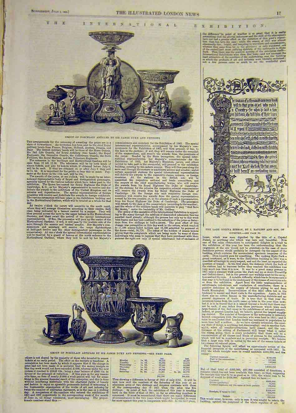 Print 1862 Porcelain Exhibition Duke Nephews Articles 977941 Old Original
