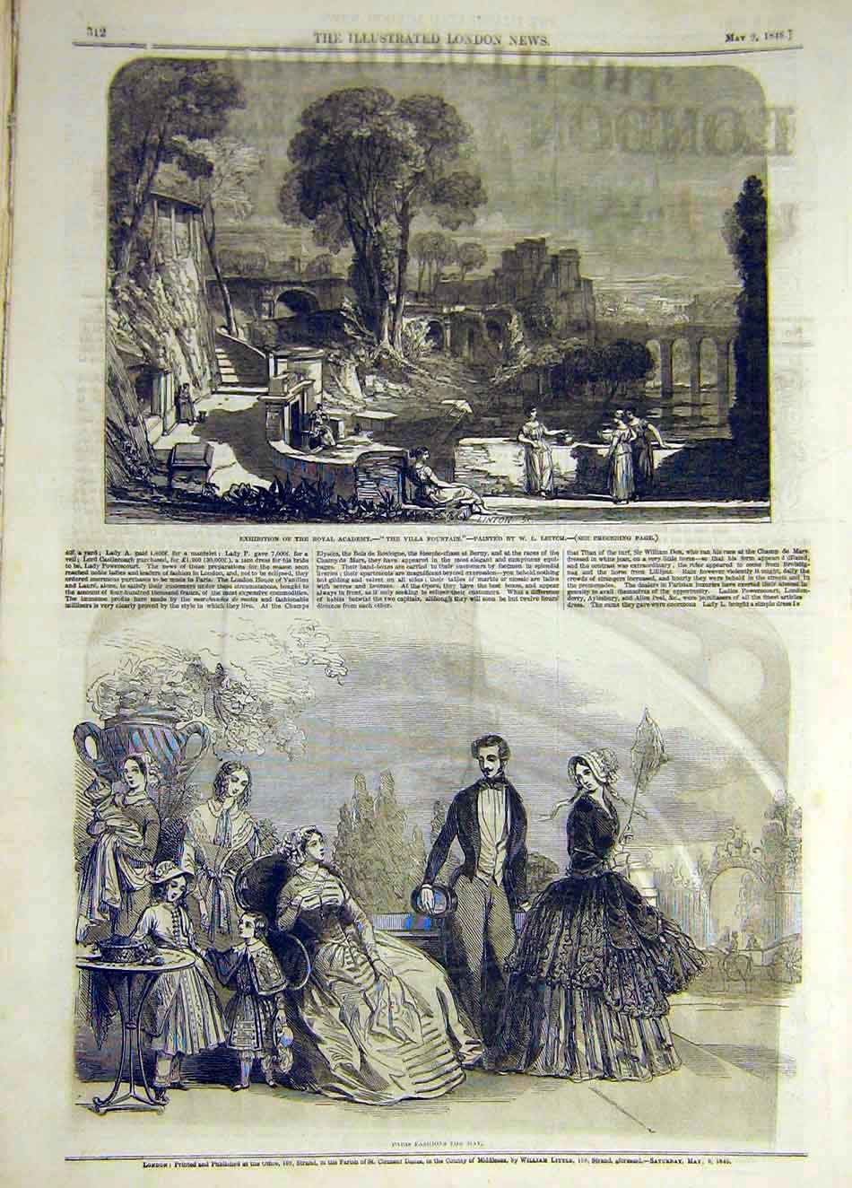 Print 1846 Villa Fountain Leitch Paris Fashions 997941 Old Original