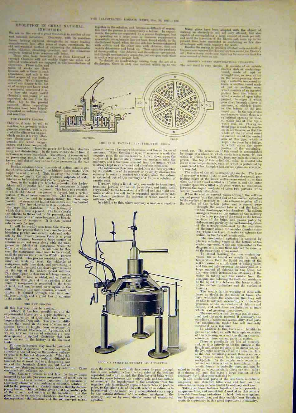 Print 1897 Rhodin Electrolytic Cell Apparatus Science 007941 Old Original