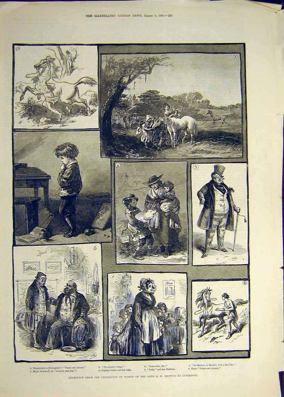 Print 1883 Exhibition Browne Liverpool Fine Art 017941 Old Original