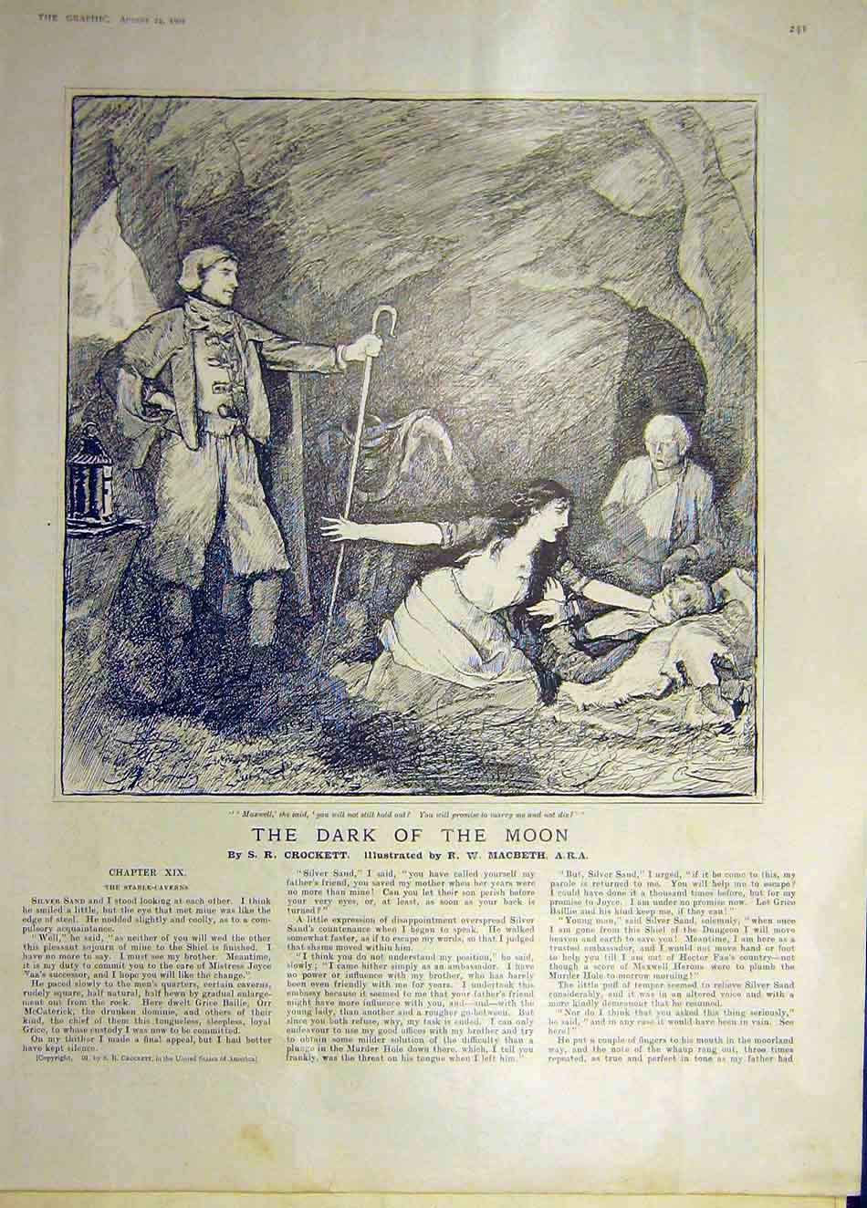 Print 1901 Dark Moon Story Crockettmacbeth Sketch 047941 Old Original