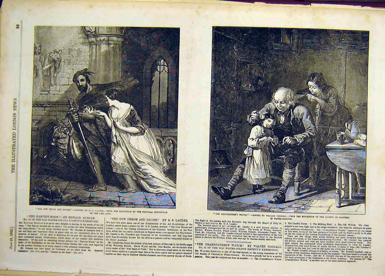 Print 1855 Grandfather'S Watch Goodall Lauder Louise 087941 Old Original