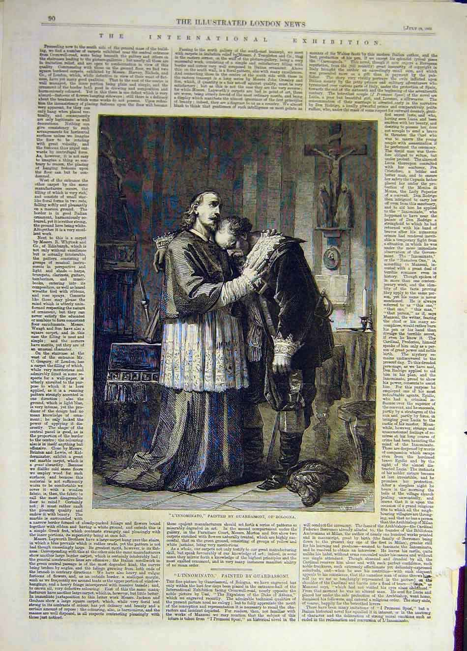 Print 1862 L'Innominto Guardassoni Bologna Fine Art 097941 Old Original